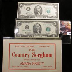"391.(9) Labels ""This Can Contains___Pounds of Pure Country Sorghum Manufactured For Amana Society We"