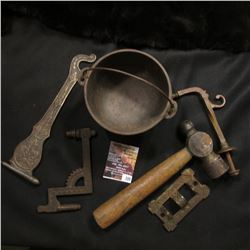 "399.""Wagner Ware Sidney"" Cast Iron Pot; Couple of Cast Iron wall hangars; & a small Ball Peen hammer"