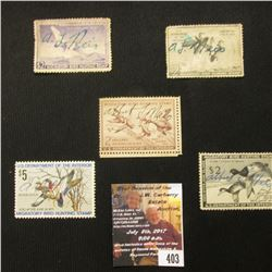 403.1951 RW18, 1952 RW19, 1953 RW20, 1954 RW21, & 1974 RW41 U.S. Migratory Bird hunting Stamps. All