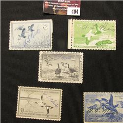 404.1952 RW19, 1955 RW22, 1956 RW23, 1957 RW24, & 1958 RW25 U.S. Migratory Bird hunting Stamps. All