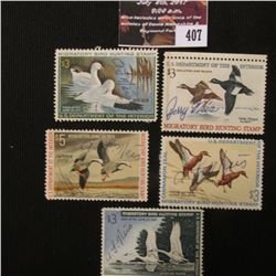 407.RW33 1966, RW36 1969, RW37 1970, RW38 1971, &  RW39 1972 U.S. Migratory Bird hunting Stamps. All