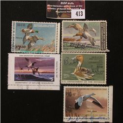 413.RW47 1980, RW49 1982, RW531986, RW55 1988 U.S. Migratory Bird hunting Stamps, All Signed; & 1986