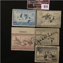 414.RW15 1948, RW18 1951, RW20 1953, RW23 1956, RW25 1958 U.S. Migratory Bird hunting Stamps. All Si