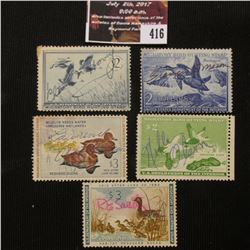 416.1952 RW19, 1955 RW22, 1957 RW24, 1960 RW27, & 1961 RW28 U.S. Migratory Bird hunting Stamps. All