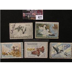 417.1951 RW18, 1960 RW27, 1961 RW28, 1963 RW30, & 1970 U.S. Migratory Bird hunting Stamps. All Signe