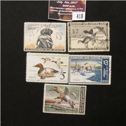 418.1954 RW21, 1959 RW26, 1967 RW34, 1975 RW42, & 1982 RW49 U.S. Migratory Bird hunting Stamps. All