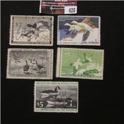 420.1954 RW21, 1957 RW23, 1958 RW24, 1976 RW43, & 1977 RW44 U.S. Migratory Bird hunting Stamps. All