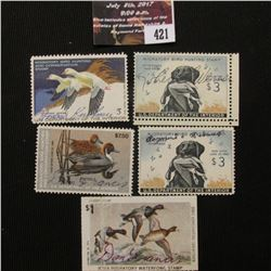 421.RW26 1959,RW50 1983,RW45 1978,RW44 1977, RW26 1959  U.S. Migratory Bird hunting Stamps. All Sign