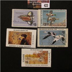 423.1978 RW45, 1980 RW47 U.S. Migratory Bird hunting Stamps, both signed; 1982 & 92 Iowa Migratory W