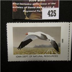 425.2001 Iowa Dept. of Natural Resources Duck Stamp, depicting the Snow Goose flying over a picked C