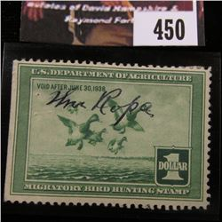 450.1937 U.S. Migratory Bird hunting Stamps, RW4, Signed.