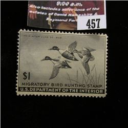 457.1945 U.S. Migratory Bird hunting Stamps, RW12, Unused, No gum.