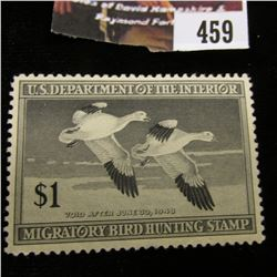 459.1947 U.S. Migratory Bird hunting Stamps, RW14, Unused, Partial gum.