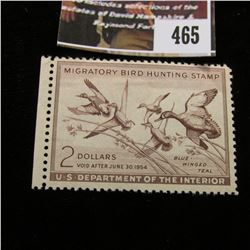 465.1953 U.S. Migratory Bird hunting Stamps, RW20, Unused, Hinged.