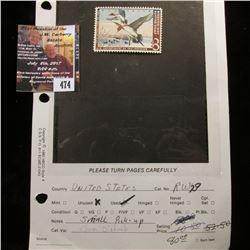 474.1962 U.S. Migratory Bird hunting Stamps, RW29, Unused, Gum disturbed. Originally described as a