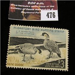476.1964 U.S. Migratory Bird hunting Stamps, RW31, Unused, No gum.