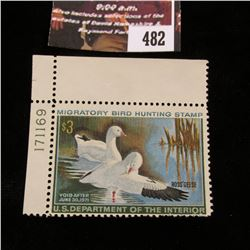 482.1970 U.S. Migratory Bird hunting Stamps, RW37, Unused, OG, Not hinged, Scarce Plate number corne