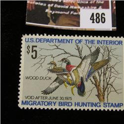 486.1974 U.S. Migratory Bird hunting Stamps, RW41, Unused, OG, Not hinged, XF.