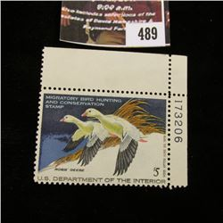489.1977 U.S. Migratory Bird hunting Stamps, RW44, Unused, OG, Not hinged, Scarce Plate number corne