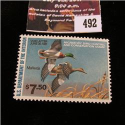 492.1980 U.S. Migratory Bird hunting Stamps, RW47, Unused, back disturbed.