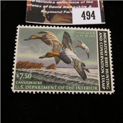 494.1982 U.S. Migratory Bird hunting Stamps, RW49, Unused, full original gum, VF.