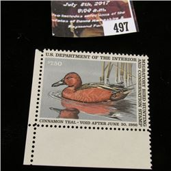 497.1985 U.S. Migratory Bird hunting Stamps, RW52, Unused, full original gum, VF.