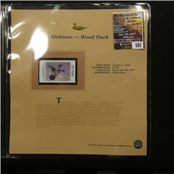 503.1996 Alabama - Wood $5 Duck Stamp, Pristine, mint condition in original folio as issued by the N