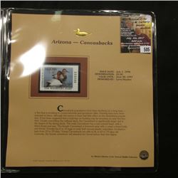 505.1996 Arizona-Canvasbacks $5.50 Duck Stamp, Pristine, mint condition in original folio as issued