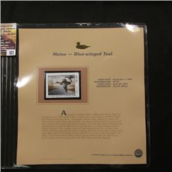521.1996 Maine-Blue-winged Teal $2.50 Duck Stamp, Pristine, mint condition in original folio as issu