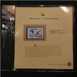 525.1996 Minnesota-Greater Scaup $5.00 Duck Stamp, Pristine, mint condition in original folio as iss