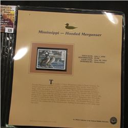 526.1996 Mississippi-Hooded Merganser $5.00 Duck Stamp, Pristine, mint condition in original folio a