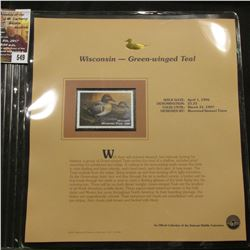 549.1996 Wisconsin-Green-winged Teal $5.25 Duck Stamp, Pristine, mint condition in original folio as