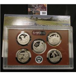 553.2016 S United States Mint America the Beautiful Quarters Proof Set, Original as issued.
