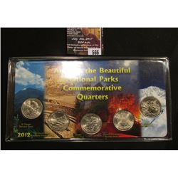 "566.2012 P ""America the Beautiful National Parks Commemorative Quarters"" set in a special holder."