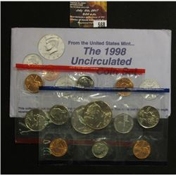 568.1998 P & D U.S. Mint Uncirculated Coins 12-Piece Set, including two mint medals.