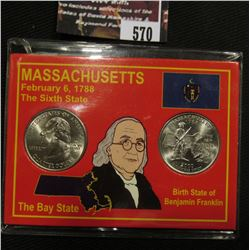 570.2000 P & D Massachusetts Quarter Set in a special case. Gem BU.