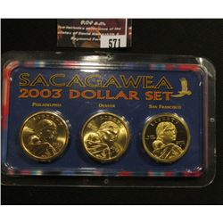 571.2003 P, D, & S Sacagawea Three-Piece Dollar Set, includes a spectacular Proof issue.