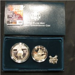 600.1992 P & S Two-Piece U.S. Columbus Quincentenary Coin Set. Half-Dollar & Dollar. Original as iss