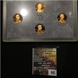641.2009 S U.S. Proof Four-Piece Lincoln Cent Set, in original plastic case as issued, small crack i