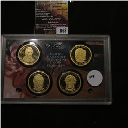 643.2009 S U.S. Mint Presidential One Dollar Coin Proof Set in original hard plastic case, no box.