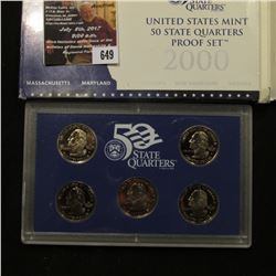 649.2000 S United States Mint America the Beautiful Quarters Proof Set, Original as issued.