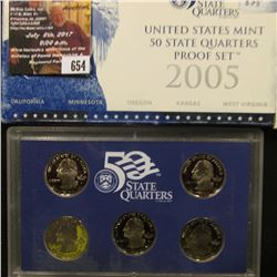 654.2005 S United States Mint America the Beautiful Quarters Proof Set, Original as issued.