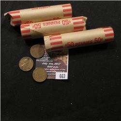 663.(3) Rolls of mixed date Wheat Cents. (150 coins).