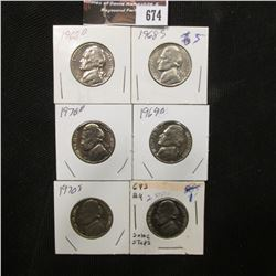 674.1968 D, 68 S, 69 D, 69 S, 70 D, & 70 S Jefferson Nickels, All Gem Brilliant Uncirculated.