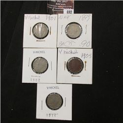 692.1893, 1901, 1902, 1905, & 1912 Liberty Nickels in coin holders.