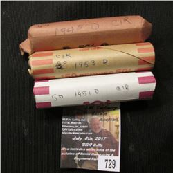 729.1945 D, 51 D, & 53 D Solid Date Rolls of Lincoln Cents, average circulated.