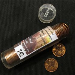 742.1955 D Solid Date Roll of BU Lincoln Cents in a plastic tube.