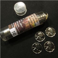 743.1943 P Superb Condition Reprocessed World War II Steel Cents in a plastic tube.