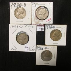 748.(5) 1938 D Jefferson Nickels 'First year of Issue', all in carded holders.