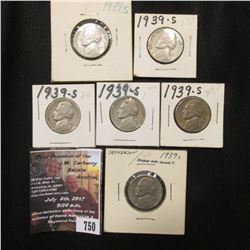 750.(6) 1939 S Jefferson Nickels in carded holders.